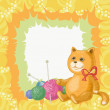 Cartoon cat and accessories for knitting — Stock Photo
