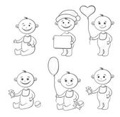 Cartoon children with toys, outline — Stock Photo