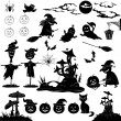 Halloween cartoon, set black silhouette — Stock Photo #26359841