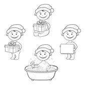 Noel baba şapkalı çocuk çizgi film, anahat — Stok Vektör