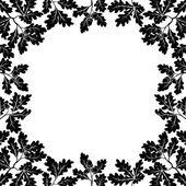 Border of oak branches, black contours — Stock Vector