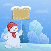 Muñecos de nieve en el bosque de invierno — Vector de stock