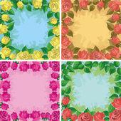 Bakgrunder, ramar från blommor — Stockvektor