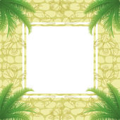 Palm leaves and abstract pattern — Stock Vector
