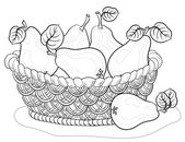 Basket with pears, contours — Stock Photo