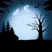 Halloween landscape with ghosts — Stock Vector