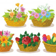 Baskets with flowers set — Stock Vector
