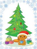 Teddy bear, gifts and Christmas tree — Stock Photo