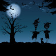 Halloween landscape, with scarecrows — Stock Photo