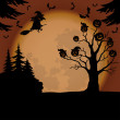 Halloween landscape with witch and pumpkins — Stock Photo