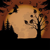 Halloween landscape with witch and pumpkins — Photo