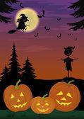 Halloween landscape with pumpkins — Stock Vector