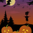 Halloween landscape with pumpkins — Stock Photo