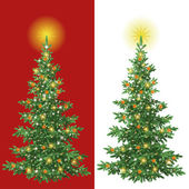 Kerstboom met decoraties — Stockvector