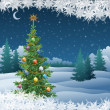 Winter landscape with Christmas tree — Stock Photo