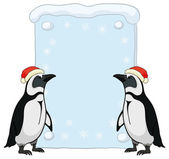 Penguins with Christmas poster — Stok fotoğraf