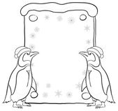 Penguins with Christmas poster, outline — Stock Photo