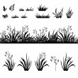 Grass and flowers silhouette, seamless and sets — Stock Photo