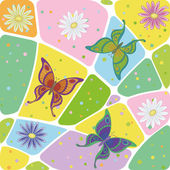 Seamless, flowers and butterflies — Stock Photo