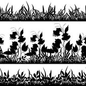 Grass and flowers silhouette, set — Stock Vector