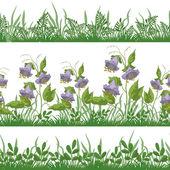 Flowers and grass, set seamless — Stockfoto