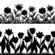 Flowers and grass silhouette, set seamless — Stock Photo