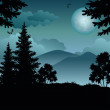 Stock Photo: Landscape, trees, moon and mountains