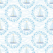 Seamless background, sailboats and waves — Stock Photo