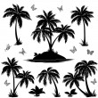 Tropical island, palms and butterflies silhouettes — Stock Vector