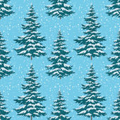 Seamless background, Christmas trees with snow — Stock Vector