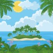Tropical island with palms and flowers — Stock Vector