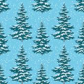 Bezešvé pozadí, vánoční stromky se sněhem — Stock fotografie