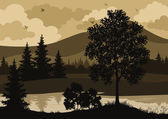 Landscape, trees, river and birds silhouette — Zdjęcie stockowe