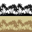 Palms and flowers silhouettes, seamless — Stock Vector