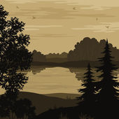 Landscape, trees and river silhouette — ストックベクタ