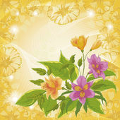 Flowers alstroemeria and ipomoea contours — Stock Vector