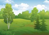 Landscape, green summer forest — Stock Vector