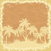 Tropical palms trees and grass silhouettes — Stock Vector