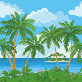 Exotic seamless tropical sea landscape — Stock Vector