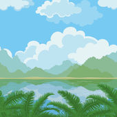 Seamless landscape, sea and plants — Stock Vector