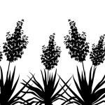 Flowers Yucca silhouette, horizontal seamless — Stock Photo #48796309