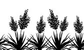 Flowers Yucca silhouette, horizontal seamless — Stock Photo