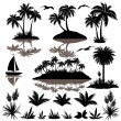 Tropical set with palms silhouettes — Stock Vector #48794135
