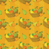 Seamless pattern, baskets and fruits pears — Stock Vector