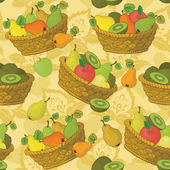 Seamless pattern, baskets and fruits — Stock Vector