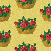 Seamless floral pattern, basket with roses — Stock Vector