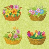 бесшовный цветочный узор, корзины с цветами — Cтоковый вектор