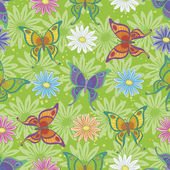 Seamless pattern, butterflies and flowers — Stock Photo