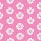 Seamless floral pattern, mallow and cosmos — Stock Vector