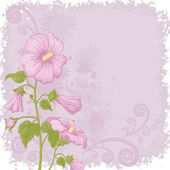 Holiday background with mallow flowers — Stock Vector